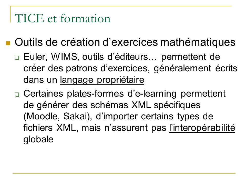 TICE et formation Outils de création dexercices mathématiques Euler, WIMS, outils déditeurs… permettent de créer des patrons dexercices, généralement