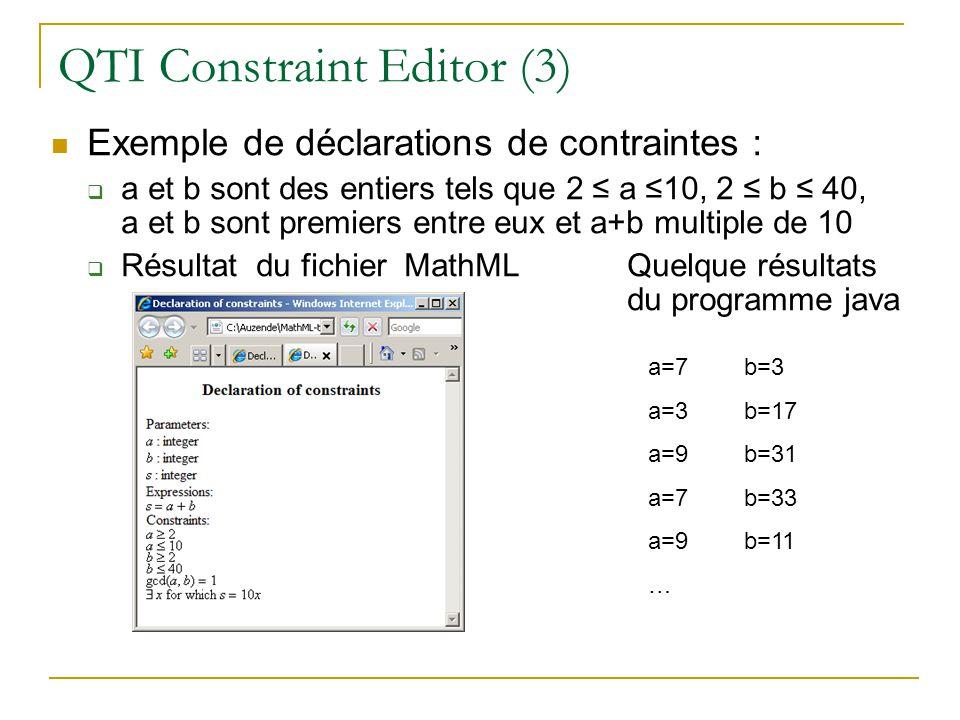QTI Constraint Editor (3) Exemple de déclarations de contraintes : a et b sont des entiers tels que 2 a 10, 2 b 40, a et b sont premiers entre eux et