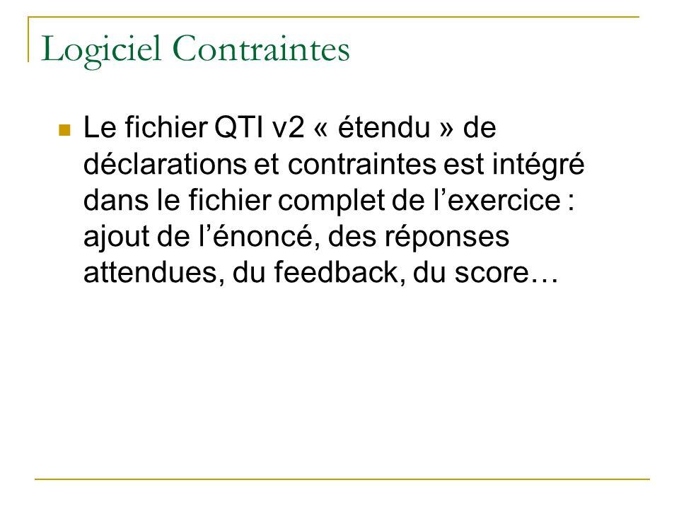 Logiciel Contraintes Le fichier QTI v2 « étendu » de déclarations et contraintes est intégré dans le fichier complet de lexercice : ajout de lénoncé,