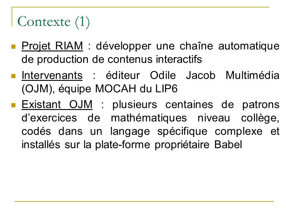 Contexte (1) Projet RIAM : développer une chaîne automatique de production de contenus interactifs Intervenants : éditeur Odile Jacob Multimédia (OJM)