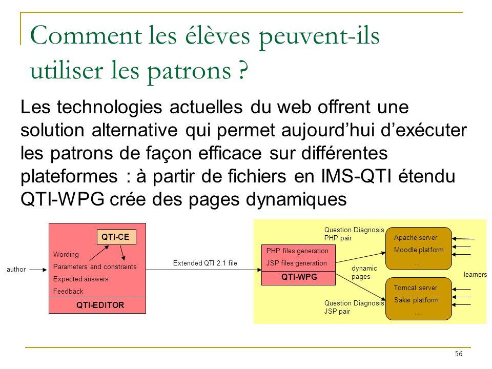 Prend en entrée un fichier IMS-QTI 2.1 (2006 ou 2011) Traduit simultanément en PHP et en java les initialisations des paramètres et les contraintes Génère en PHP et en JSP un couple de pages Web dynamiques (une page question, une page retour à lapprenant) Permet ainsi de faire exécuter les exercices sur les serveurs Web Apache et Tomcat Sur chaque serveur, les paramètres sont instanciés à chaque exécution 57 Un générateur de pages Web dynamiques (WPG)