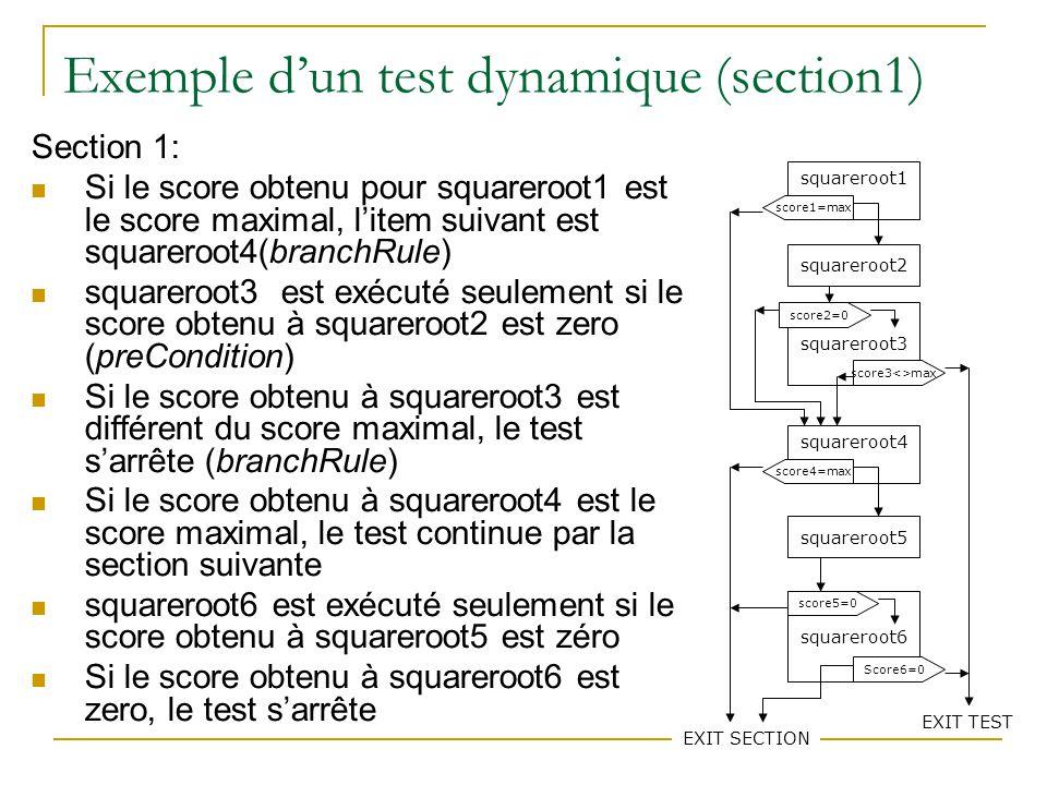 74 Exemple dun test dynamique (section1) Section 1: Si le score obtenu pour squareroot1 est le score maximal, litem suivant est squareroot4(branchRule) squareroot3 est exécuté seulement si le score obtenu à squareroot2 est zero (preCondition) Si le score obtenu à squareroot3 est différent du score maximal, le test sarrête (branchRule) Si le score obtenu à squareroot4 est le score maximal, le test continue par la section suivante squareroot6 est exécuté seulement si le score obtenu à squareroot5 est zéro Si le score obtenu à squareroot6 est zero, le test sarrête squareroot1 squareroot2 squareroot3 squareroot4 squareroot5 squareroot6 score1=max score3<>max score2=0 score4=max EXIT SECTION score5=0 Score6=0 EXIT TEST