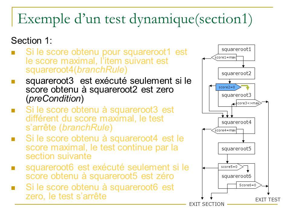 76 Exemple dun test dynamique(section1) Section 1: Si le score obtenu pour squareroot1 est le score maximal, litem suivant est squareroot4(branchRule) squareroot3 est exécuté seulement si le score obtenu à squareroot2 est zero (preCondition) Si le score obtenu à squareroot3 est différent du score maximal, le test sarrête (branchRule) Si le score obtenu à squareroot4 est le score maximal, le test continue par la section suivante squareroot6 est exécuté seulement si le score obtenu à squareroot5 est zéro Si le score obtenu à squareroot6 est zero, le test sarrête squareroot1 squareroot2 squareroot3 squareroot4 squareroot5 squareroot6 score1=max score3<>max score2=0 score4=max EXIT SECTION score5=0 Score6=0 EXIT TEST