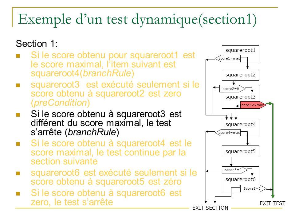 77 Exemple dun test dynamique(section1) Section 1: Si le score obtenu pour squareroot1 est le score maximal, litem suivant est squareroot4(branchRule) squareroot3 est exécuté seulement si le score obtenu à squareroot2 est zero (preCondition) Si le score obtenu à squareroot3 est différent du score maximal, le test sarrête (branchRule) Si le score obtenu à squareroot4 est le score maximal, le test continue par la section suivante squareroot6 est exécuté seulement si le score obtenu à squareroot5 est zéro Si le score obtenu à squareroot6 est zero, le test sarrête squareroot1 squareroot2 squareroot3 squareroot4 squareroot5 squareroot6 score1=max score3<>max score2=0 score4=max EXIT SECTION score5=0 Score6=0 EXIT TEST