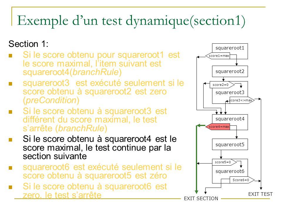 77 Exemple dun test dynamique(section1) Section 1: Si le score obtenu pour squareroot1 est le score maximal, litem suivant est squareroot4(branchRule)
