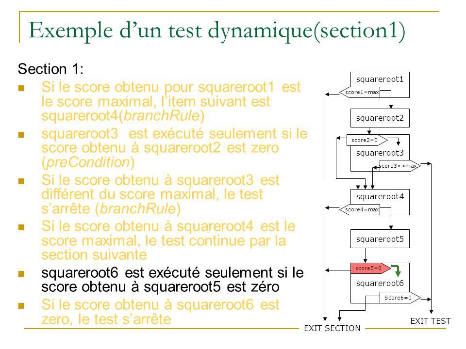 79 Exemple dun test dynamique(section1) Section 1: Si le score obtenu pour squareroot1 est le score maximal, litem suivant est squareroot4(branchRule) squareroot3 est exécuté seulement si le score obtenu à squareroot2 est zero (preCondition) Si le score obtenu à squareroot3 est différent du score maximal, le test sarrête (branchRule) Si le score obtenu à squareroot4 est le score maximal, le test continue par la section suivante squareroot6 est exécuté seulement si le score obtenu à squareroot5 est zéro Si le score obtenu à squareroot6 est zero, le test sarrête squareroot1 squareroot2 squareroot3 squareroot4 squareroot5 squareroot6 score1=max score3<>max score2=0 score4=max EXIT SECTION score5=0 Score6=0 EXIT TEST