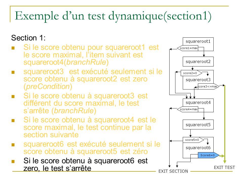 79 Exemple dun test dynamique(section1) Section 1: Si le score obtenu pour squareroot1 est le score maximal, litem suivant est squareroot4(branchRule)