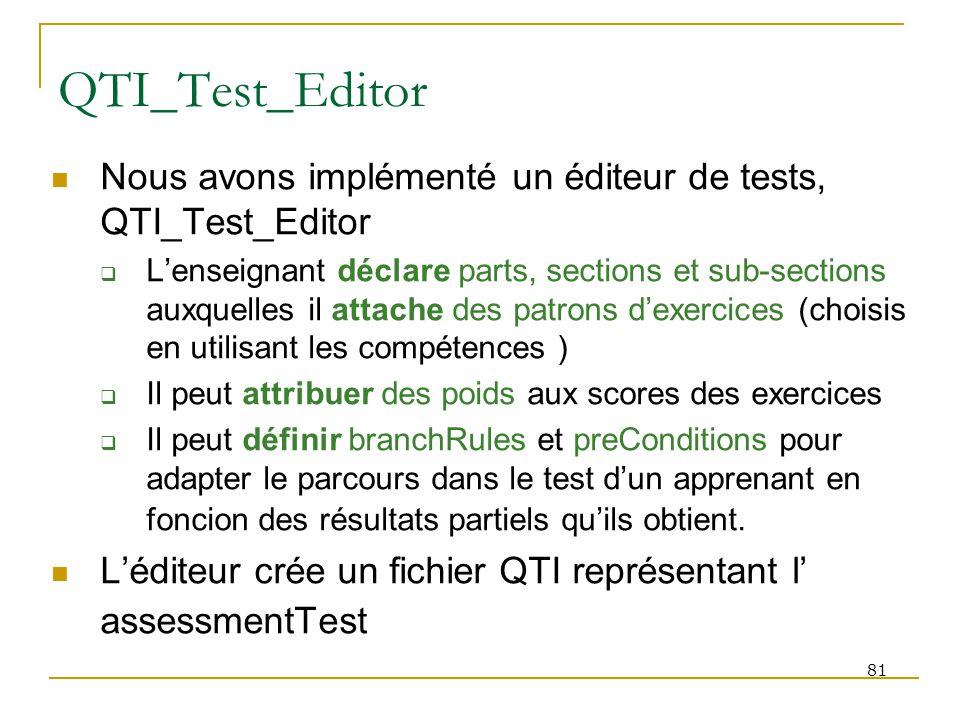81 QTI_Test_Editor Nous avons implémenté un éditeur de tests, QTI_Test_Editor Lenseignant déclare parts, sections et sub-sections auxquelles il attach