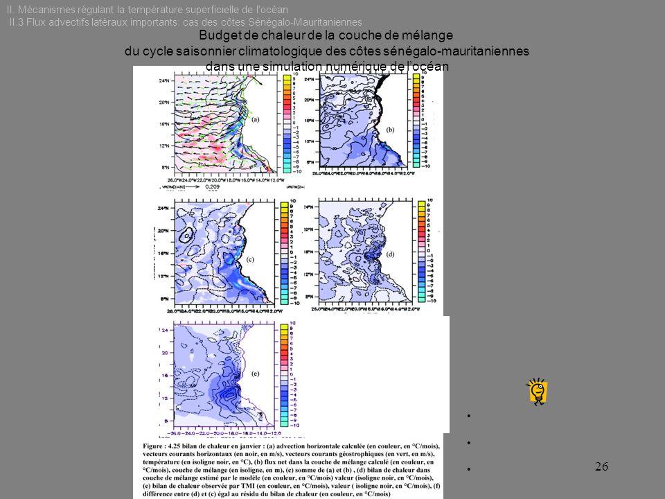 II. Mécanismes régulant la température superficielle de l'océan II.3 Flux advectifs latéraux importants: cas des côtes Sénégalo-Mauritaniennes 26 Budg