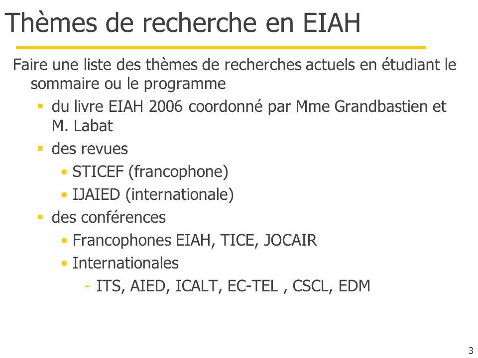 Thèmes de recherche en EIAH Faire une liste des thèmes de recherches actuels en étudiant le sommaire ou le programme du livre EIAH 2006 coordonné par Mme Grandbastien et M.