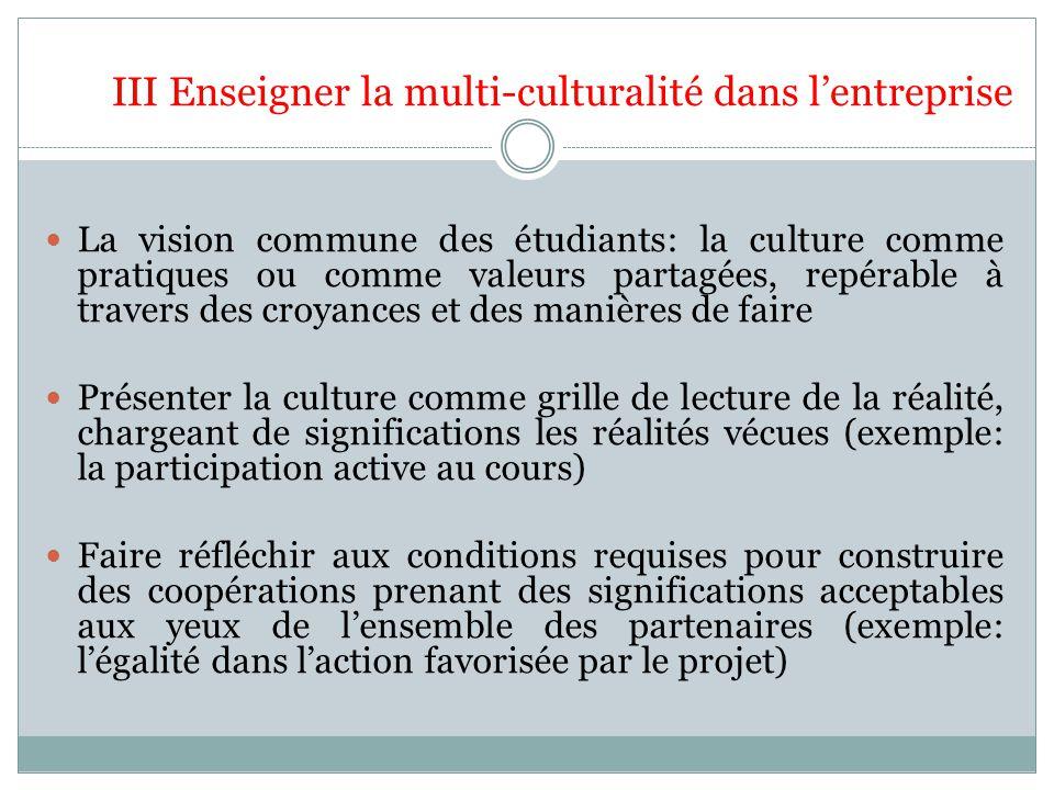 III Enseigner la multi-culturalité dans lentreprise La vision commune des étudiants: la culture comme pratiques ou comme valeurs partagées, repérable
