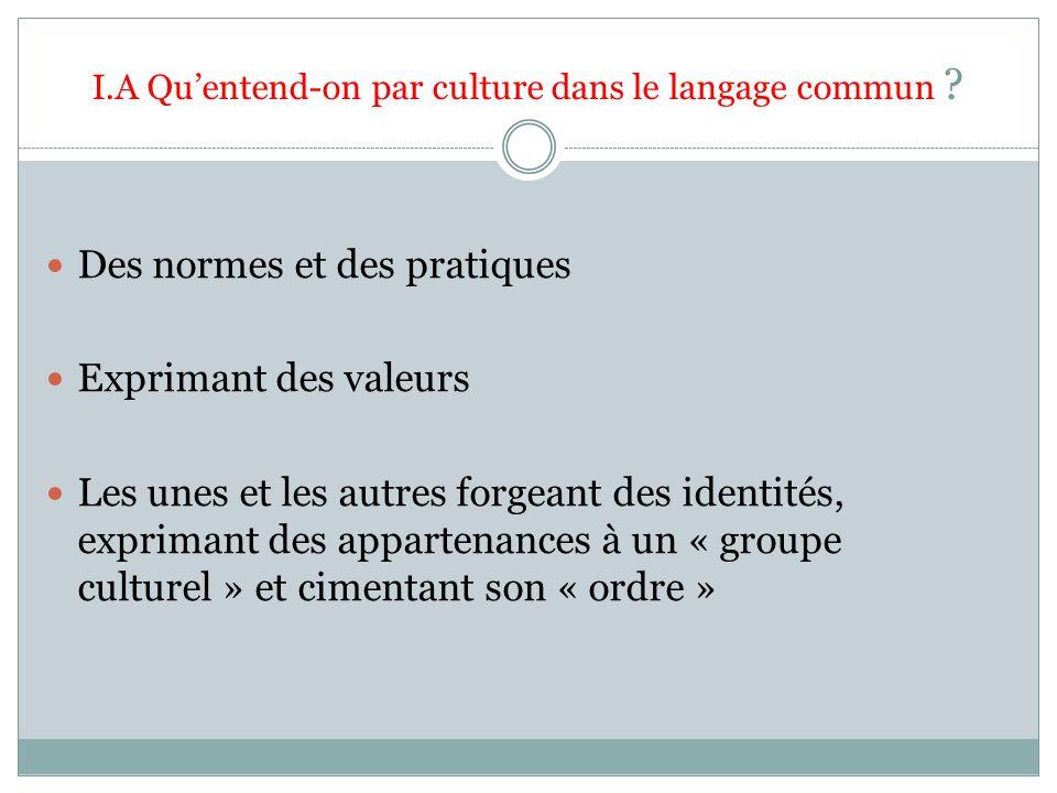 I.A Quentend-on par culture dans le langage commun ? Des normes et des pratiques Exprimant des valeurs Les unes et les autres forgeant des identités,