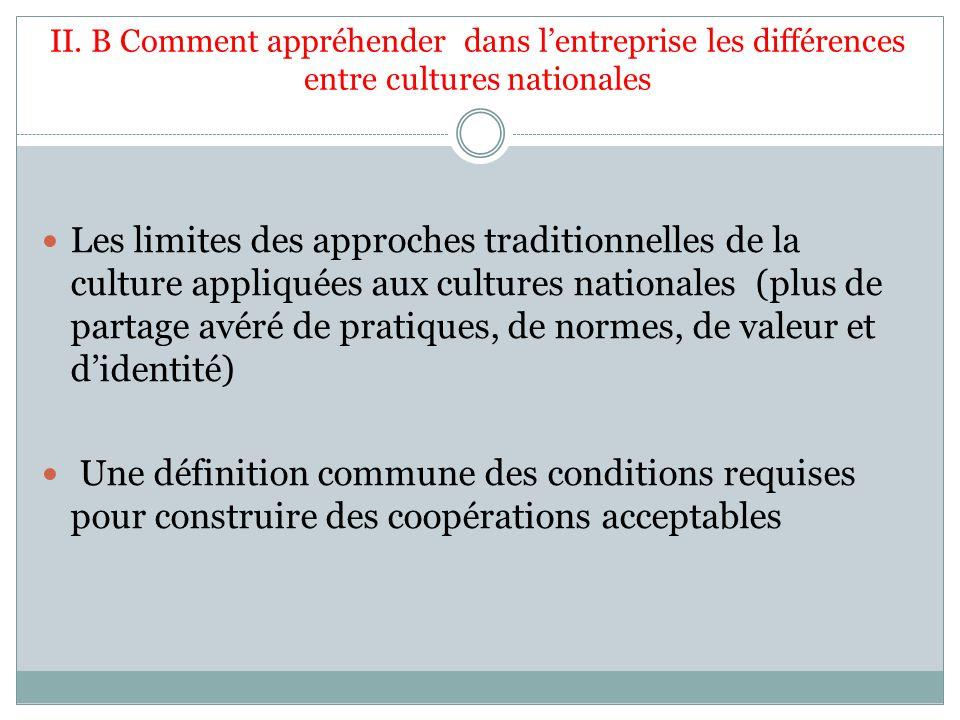 II. B Comment appréhender dans lentreprise les différences entre cultures nationales Les limites des approches traditionnelles de la culture appliquée