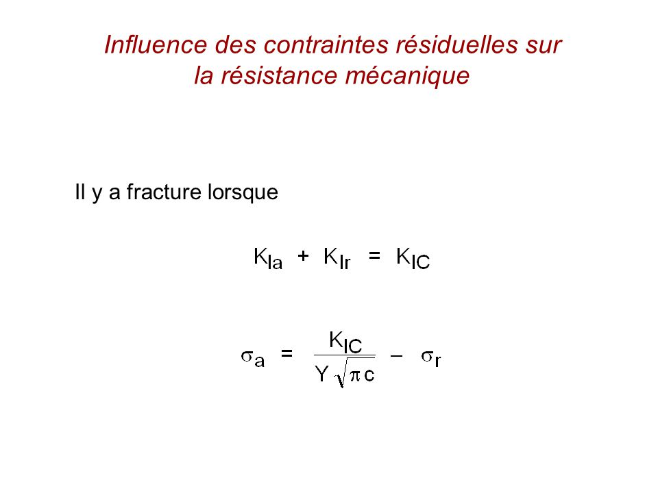 Influence des contraintes résiduelles sur la résistance mécanique Il y a fracture lorsque