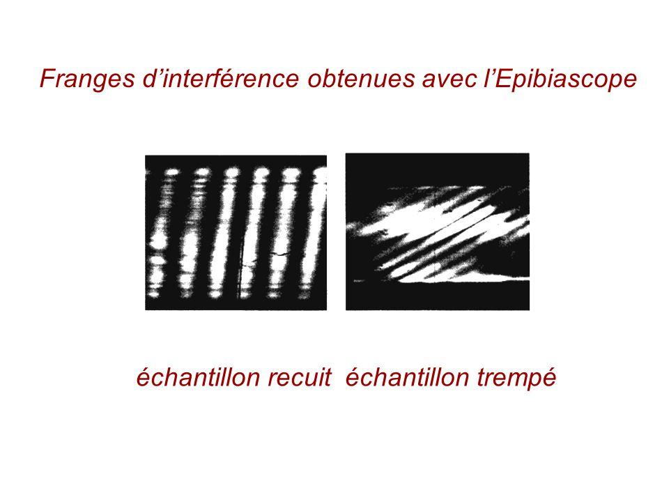 Franges dinterférence obtenues avec lEpibiascope échantillon recuitéchantillon trempé