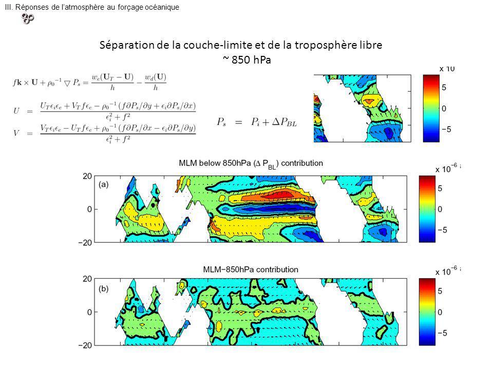 III. Réponses de latmosphère au forçage océanique Séparation de la couche-limite et de la troposphère libre ~ 850 hPa