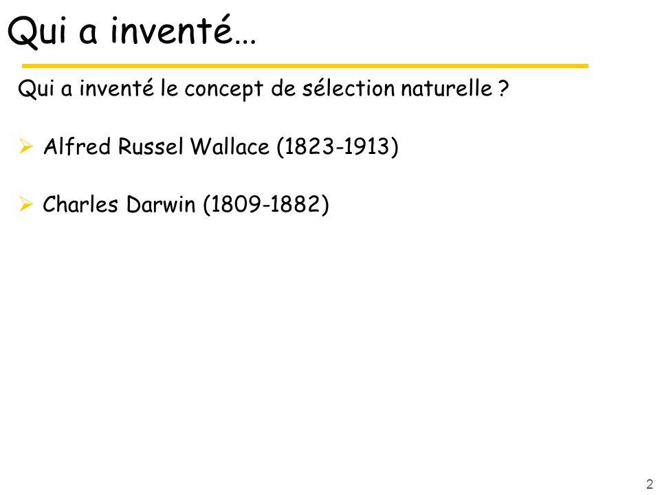 2 Qui a inventé… Qui a inventé le concept de sélection naturelle ? Alfred Russel Wallace (1823-1913) Charles Darwin (1809-1882)