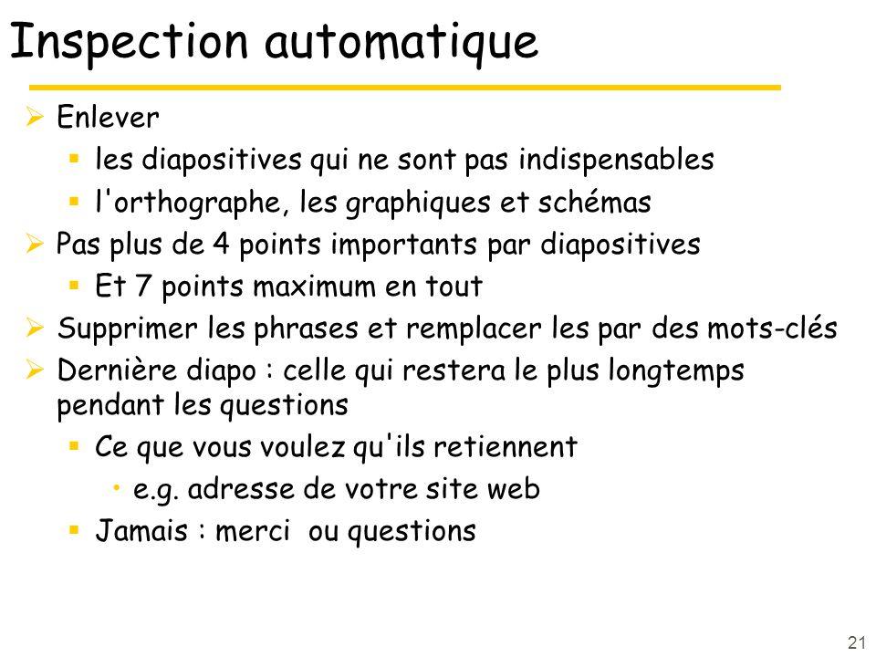 21 Inspection automatique Enlever les diapositives qui ne sont pas indispensables l'orthographe, les graphiques et schémas Pas plus de 4 points import