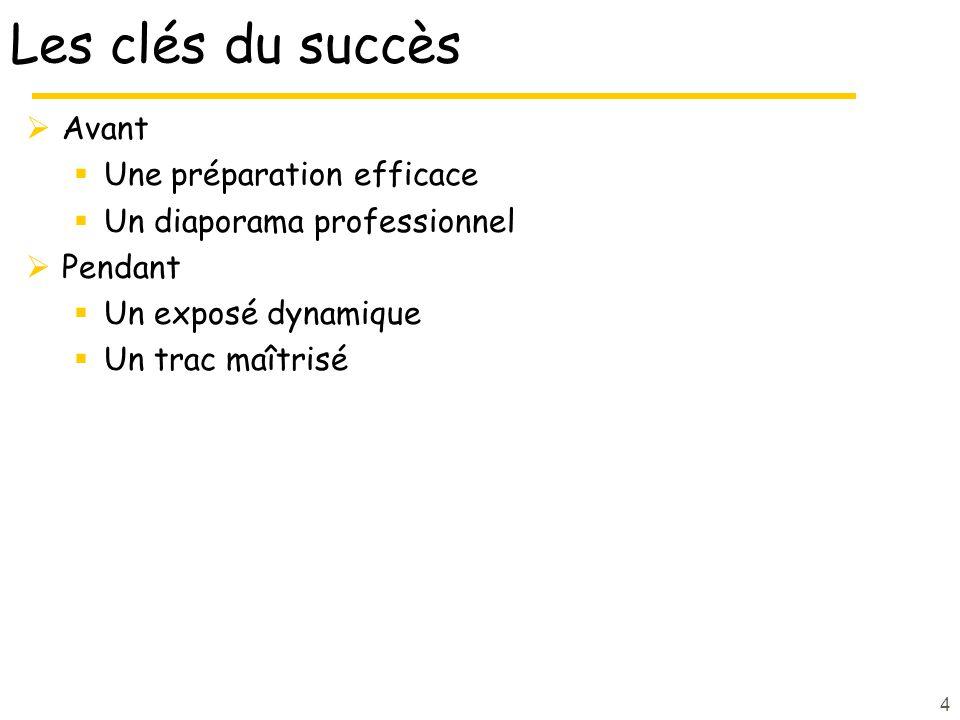 4 Les clés du succès Avant Une préparation efficace Un diaporama professionnel Pendant Un exposé dynamique Un trac maîtrisé
