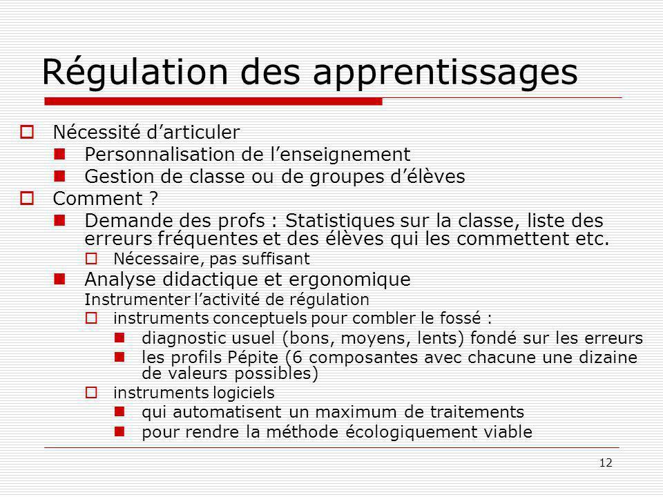 12 Régulation des apprentissages Nécessité darticuler Personnalisation de lenseignement Gestion de classe ou de groupes délèves Comment ? Demande des