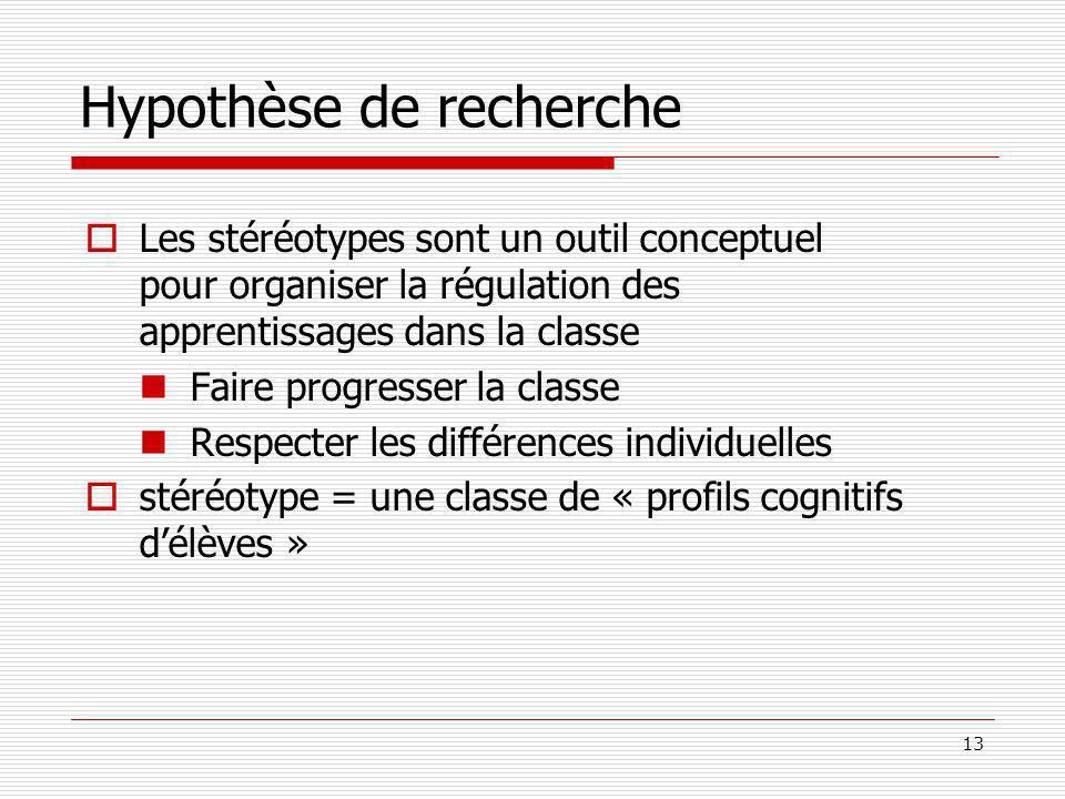 13 Hypothèse de recherche Les stéréotypes sont un outil conceptuel pour organiser la régulation des apprentissages dans la classe Faire progresser la classe Respecter les différences individuelles stéréotype = une classe de « profils cognitifs délèves »