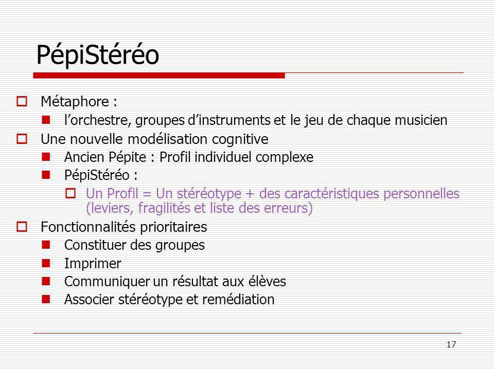 17 PépiStéréo Métaphore : lorchestre, groupes dinstruments et le jeu de chaque musicien Une nouvelle modélisation cognitive Ancien Pépite : Profil ind