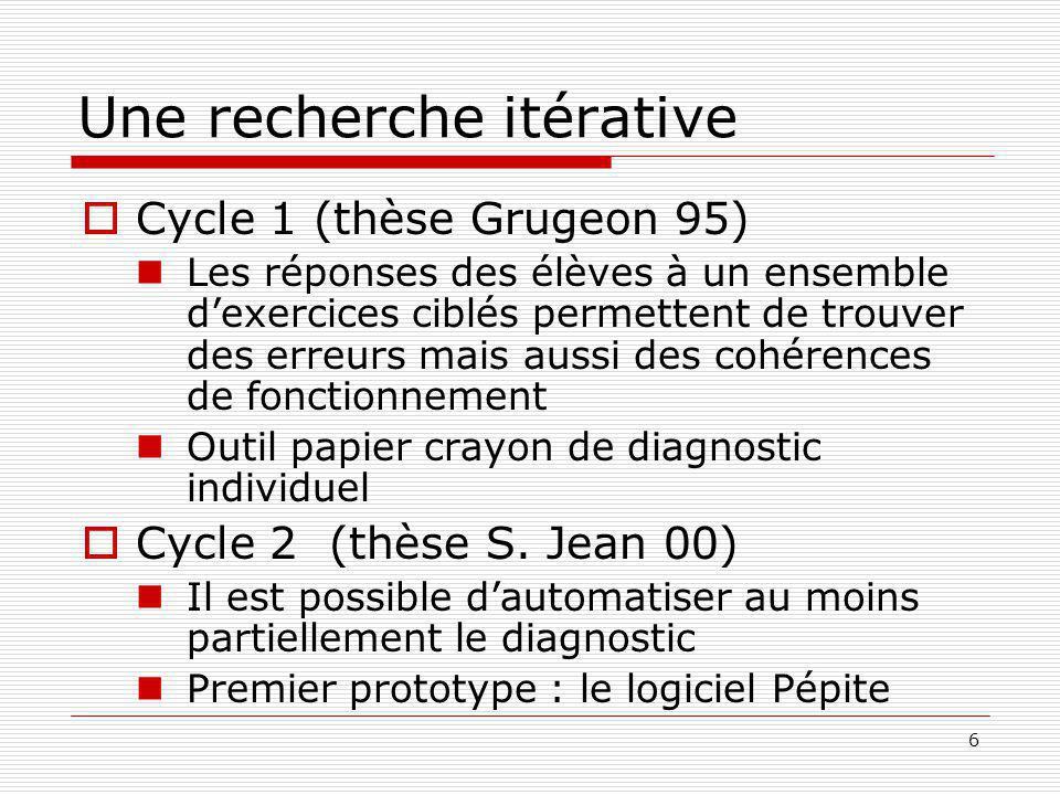 6 Une recherche itérative Cycle 1 (thèse Grugeon 95) Les réponses des élèves à un ensemble dexercices ciblés permettent de trouver des erreurs mais aussi des cohérences de fonctionnement Outil papier crayon de diagnostic individuel Cycle 2 (thèse S.
