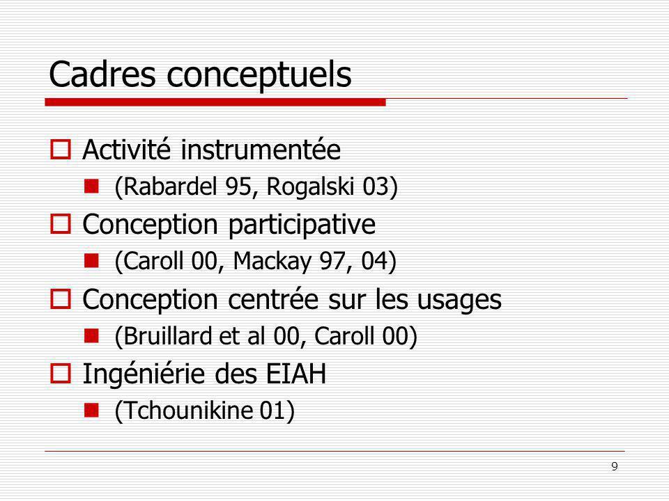 9 Cadres conceptuels Activité instrumentée (Rabardel 95, Rogalski 03) Conception participative (Caroll 00, Mackay 97, 04) Conception centrée sur les usages (Bruillard et al 00, Caroll 00) Ingéniérie des EIAH (Tchounikine 01)