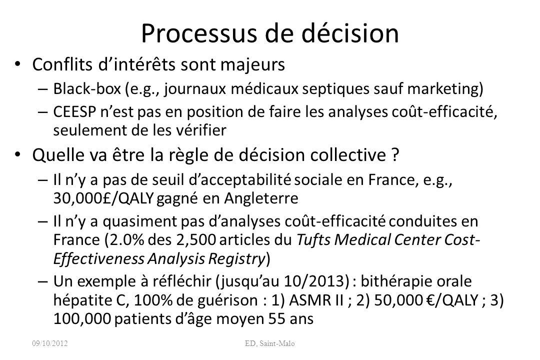 Processus de décision Conflits dintérêts sont majeurs – Black-box (e.g., journaux médicaux septiques sauf marketing) – CEESP nest pas en position de f