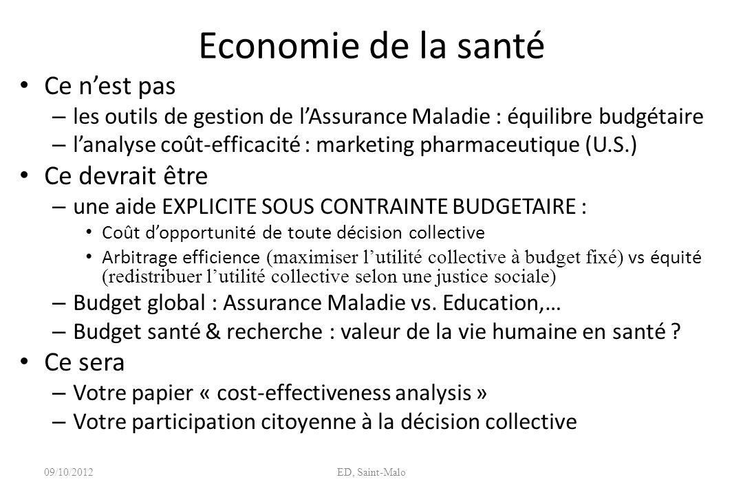 Economie de la santé Ce nest pas – les outils de gestion de lAssurance Maladie : équilibre budgétaire – lanalyse coût-efficacité : marketing pharmaceu