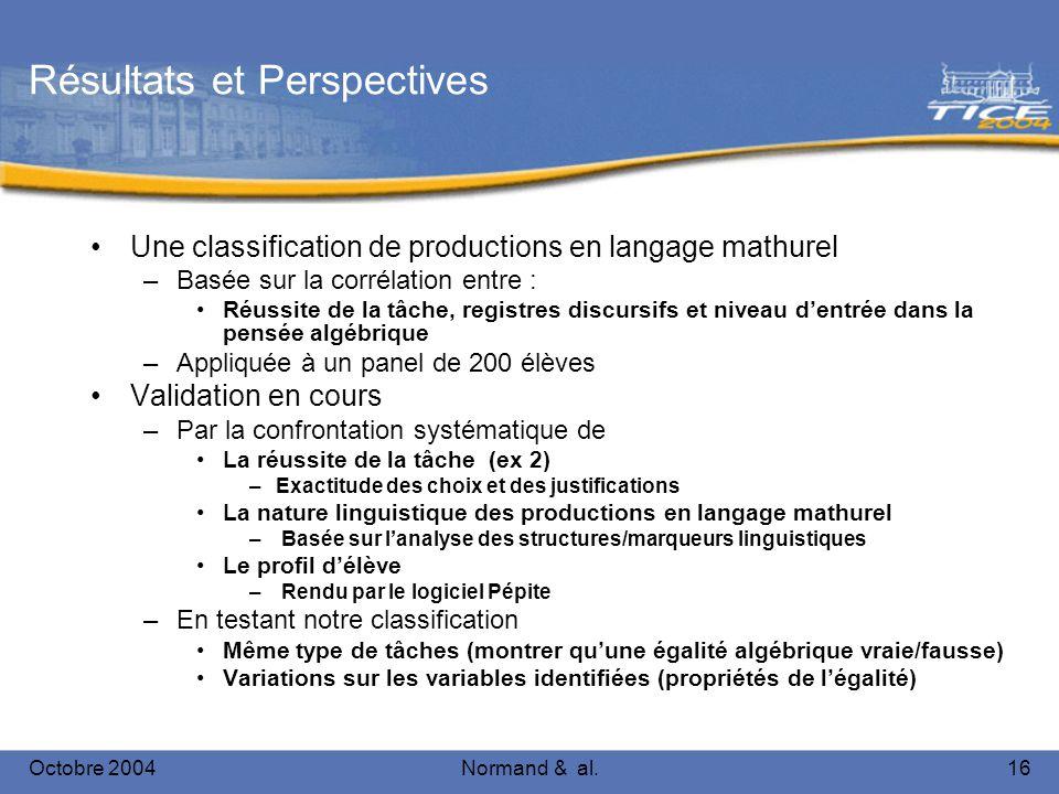 Octobre 2004Normand & al.16 Résultats et Perspectives Une classification de productions en langage mathurel –Basée sur la corrélation entre : Réussite