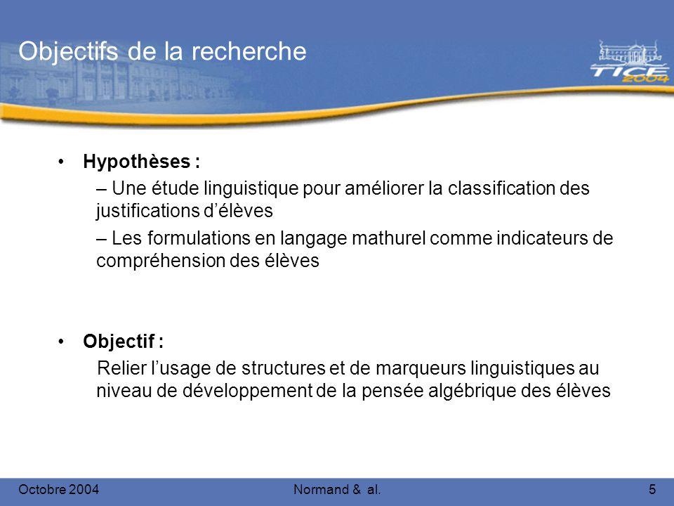 Octobre 2004Normand & al.5 Objectifs de la recherche Hypothèses : – Une étude linguistique pour améliorer la classification des justifications délèves