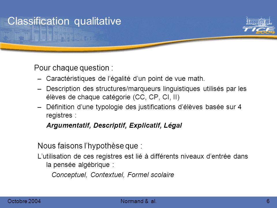 Octobre 2004Normand & al.6 Classification qualitative Pour chaque question : –Caractéristiques de légalité dun point de vue math. –Description des str