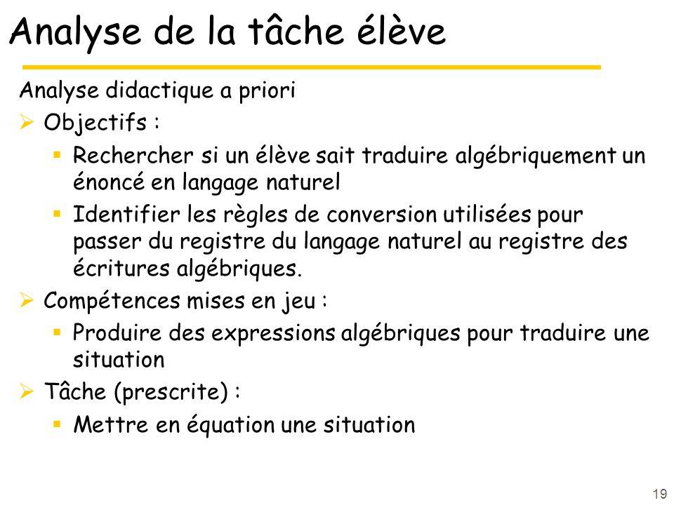 19 Analyse de la tâche élève Analyse didactique a priori Objectifs : Rechercher si un élève sait traduire algébriquement un énoncé en langage naturel