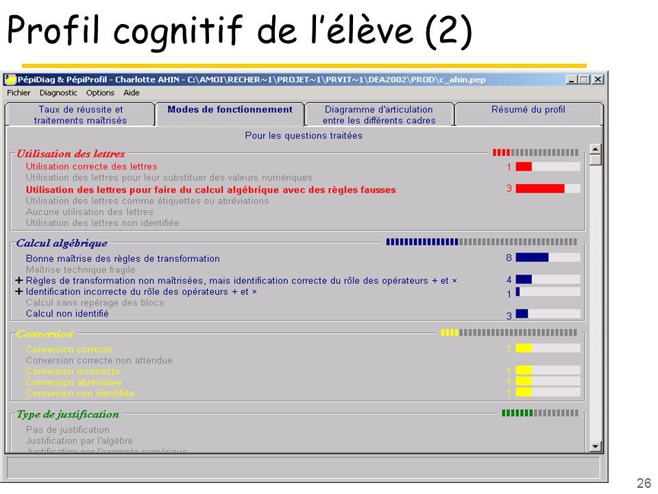 26 Profil cognitif de lélève (2)
