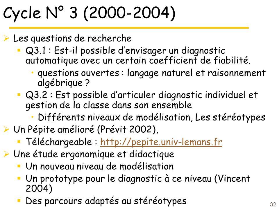 32 Cycle N° 3 (2000-2004) Les questions de recherche Q3.1 : Est-il possible denvisager un diagnostic automatique avec un certain coefficient de fiabilité.
