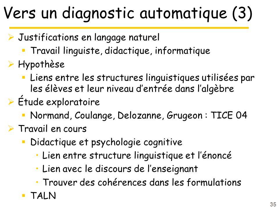 35 Vers un diagnostic automatique (3) Justifications en langage naturel Travail linguiste, didactique, informatique Hypothèse Liens entre les structur