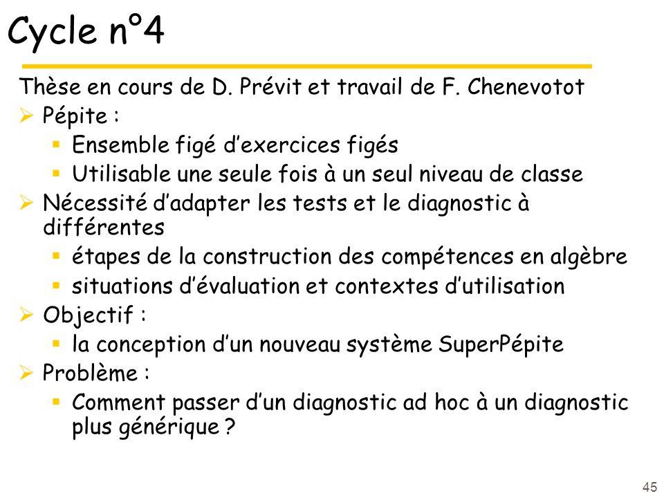 45 Cycle n°4 Thèse en cours de D. Prévit et travail de F. Chenevotot Pépite : Ensemble figé dexercices figés Utilisable une seule fois à un seul nivea