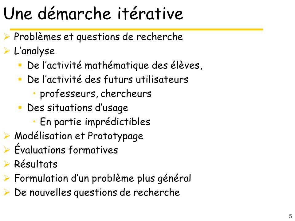 5 Une démarche itérative Problèmes et questions de recherche Lanalyse De lactivité mathématique des élèves, De lactivité des futurs utilisateurs profe