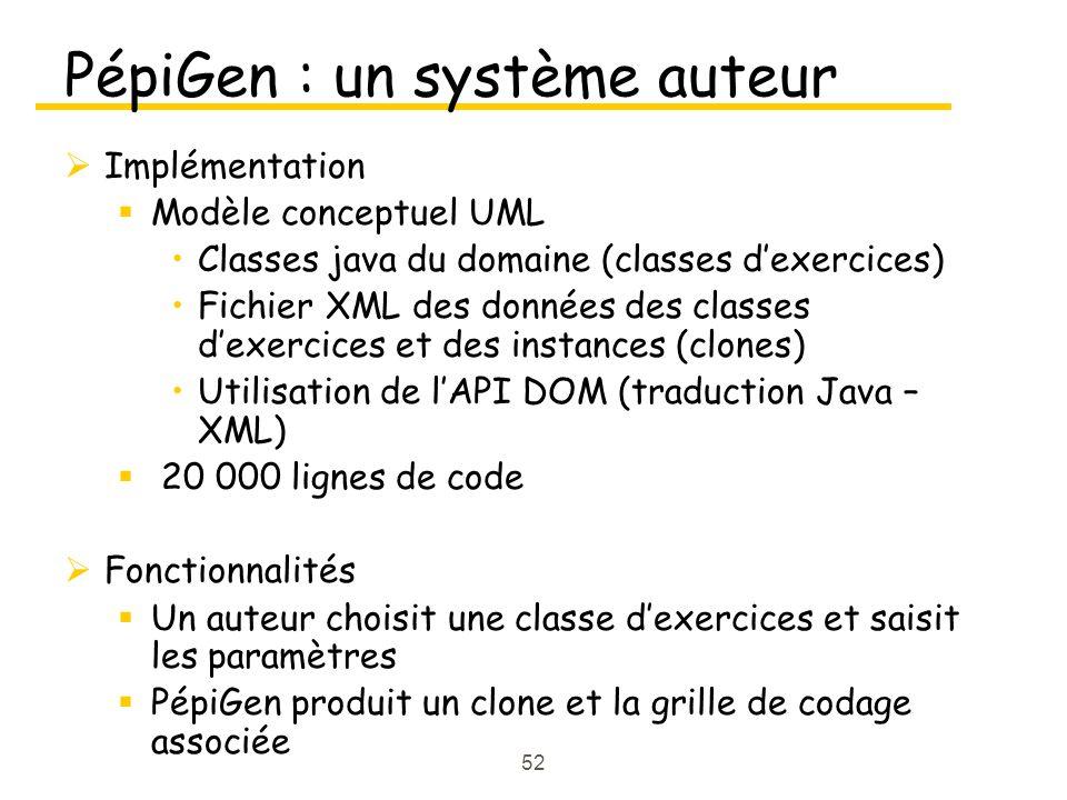 52 PépiGen : un système auteur Implémentation Modèle conceptuel UML Classes java du domaine (classes dexercices) Fichier XML des données des classes dexercices et des instances (clones) Utilisation de lAPI DOM (traduction Java – XML) 20 000 lignes de code Fonctionnalités Un auteur choisit une classe dexercices et saisit les paramètres PépiGen produit un clone et la grille de codage associée