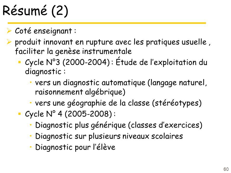 60 Résumé (2) Coté enseignant : produit innovant en rupture avec les pratiques usuelle, faciliter la genèse instrumentale Cycle N°3 (2000-2004) : Étud