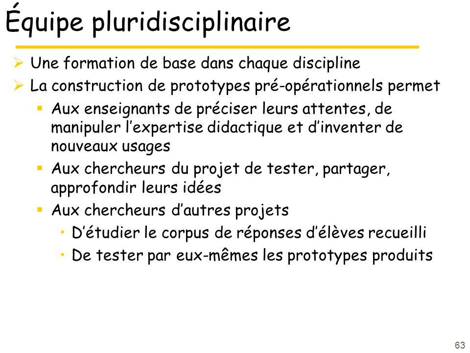 63 Équipe pluridisciplinaire Une formation de base dans chaque discipline La construction de prototypes pré-opérationnels permet Aux enseignants de pr