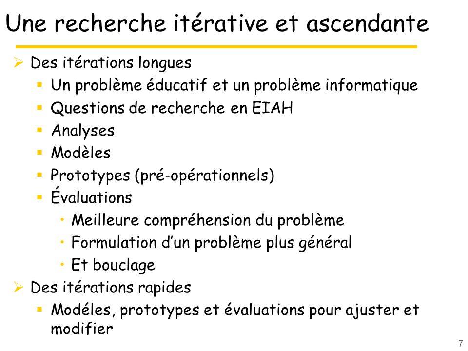 Une recherche itérative et ascendante Des itérations longues Un problème éducatif et un problème informatique Questions de recherche en EIAH Analyses