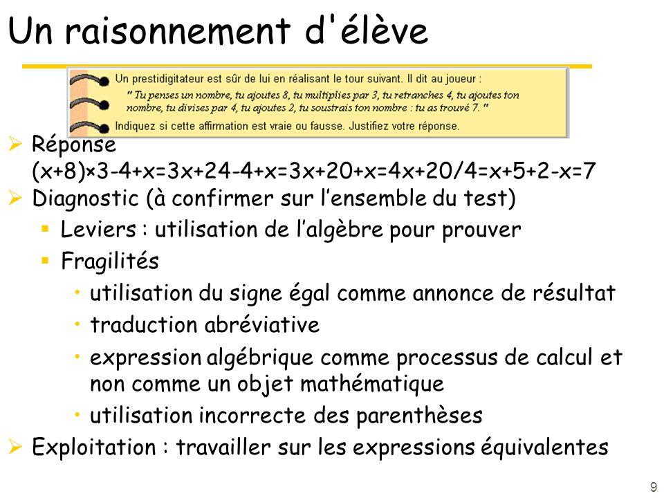 9 Un raisonnement d élève Réponse (x+8)×3-4+x=3x+24-4+x=3x+20+x=4x+20/4=x+5+2-x=7 Diagnostic (à confirmer sur lensemble du test) Leviers : utilisation de lalgèbre pour prouver Fragilités utilisation du signe égal comme annonce de résultat traduction abréviative expression algébrique comme processus de calcul et non comme un objet mathématique utilisation incorrecte des parenthèses Exploitation : travailler sur les expressions équivalentes