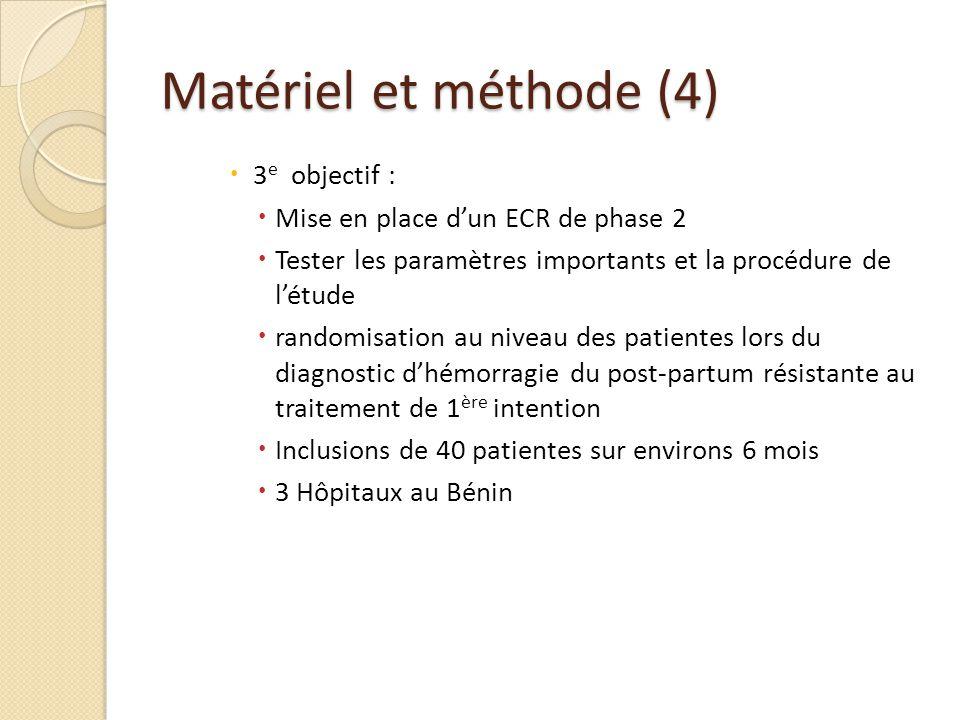 Matériel et méthode (4) 3 e objectif : Mise en place dun ECR de phase 2 Tester les paramètres importants et la procédure de létude randomisation au ni