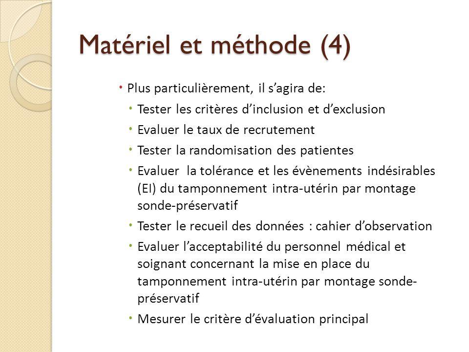 Matériel et méthode (4) Plus particulièrement, il sagira de: Tester les critères dinclusion et dexclusion Evaluer le taux de recrutement Tester la ran