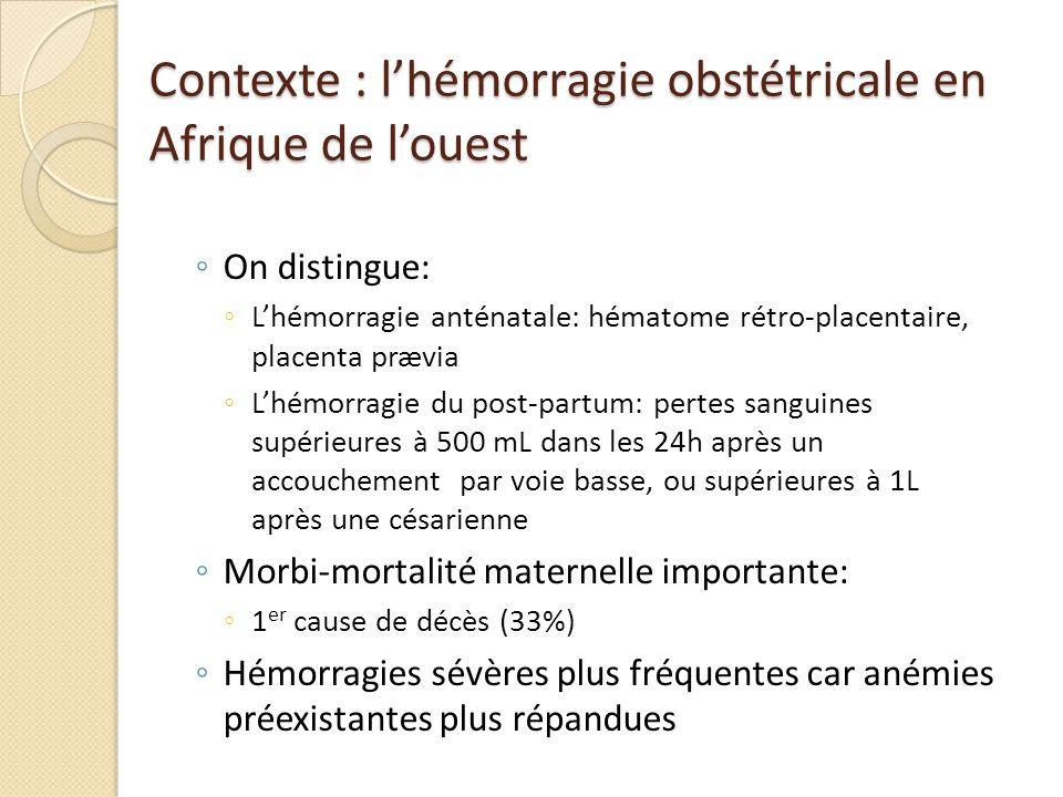 Contexte : lhémorragie obstétricale en Afrique de louest On distingue: Lhémorragie anténatale: hématome rétro-placentaire, placenta prævia Lhémorragie