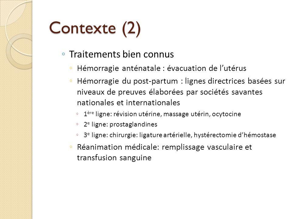 Contexte (2) Traitements bien connus Hémorragie anténatale : évacuation de lutérus Hémorragie du post-partum : lignes directrices basées sur niveaux d