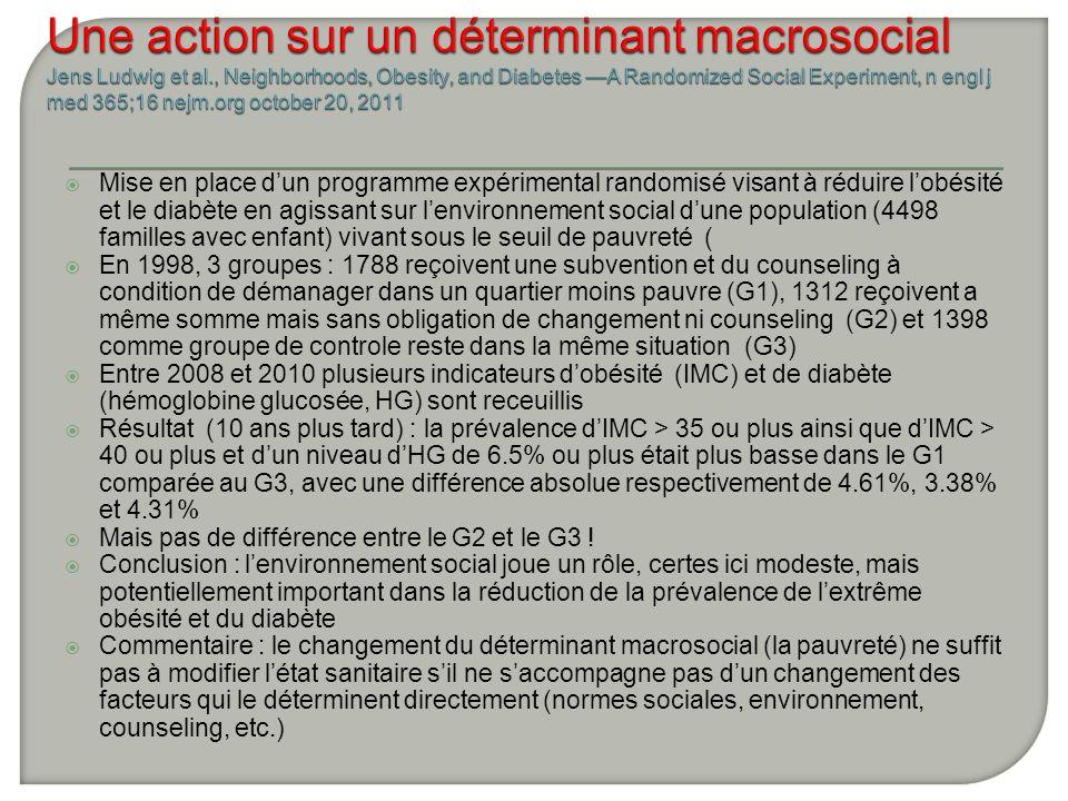 Mise en place dun programme expérimental randomisé visant à réduire lobésité et le diabète en agissant sur lenvironnement social dune population (4498 familles avec enfant) vivant sous le seuil de pauvreté ( En 1998, 3 groupes : 1788 reçoivent une subvention et du counseling à condition de démanager dans un quartier moins pauvre (G1), 1312 reçoivent a même somme mais sans obligation de changement ni counseling (G2) et 1398 comme groupe de controle reste dans la même situation (G3) Entre 2008 et 2010 plusieurs indicateurs dobésité (IMC) et de diabète (hémoglobine glucosée, HG) sont receuillis Résultat (10 ans plus tard) : la prévalence dIMC > 35 ou plus ainsi que dIMC > 40 ou plus et dun niveau dHG de 6.5% ou plus était plus basse dans le G1 comparée au G3, avec une différence absolue respectivement de 4.61%, 3.38% et 4.31% Mais pas de différence entre le G2 et le G3 .
