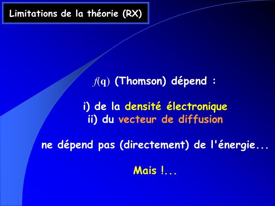 Limitations de la théorie (RX) f(q) (Thomson) dépend : i) de la densité électronique ii) du vecteur de diffusion ne dépend pas (directement) de l énergie...